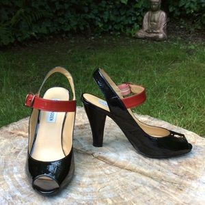 Shoes - Steve Madden Black & red patent leather pumps.